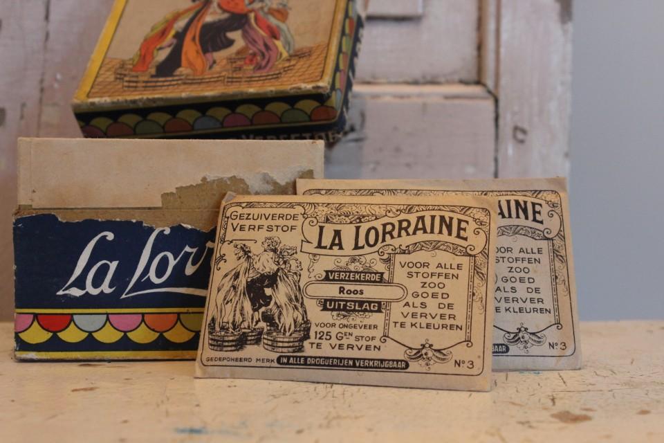 Oud zakje verfstof La Lorraine