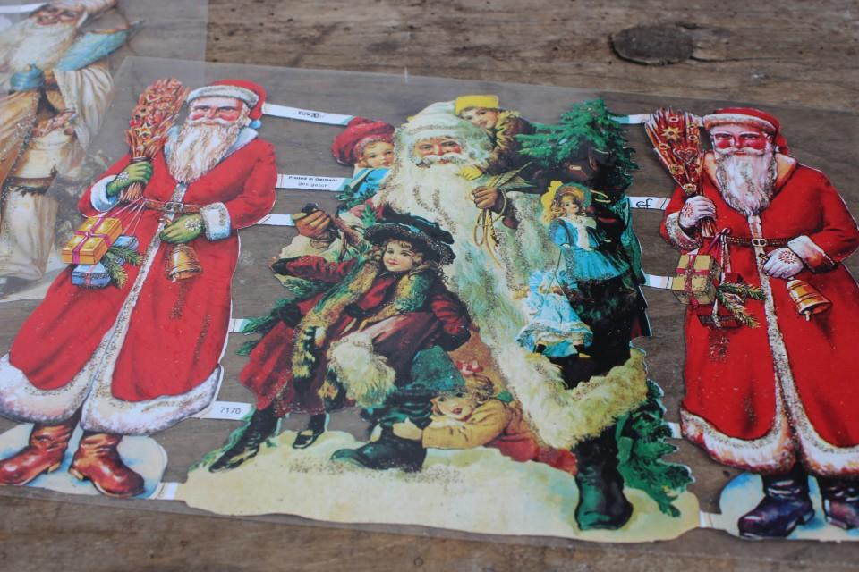 Oude grote poezieplaat Kerstmannen kinderen