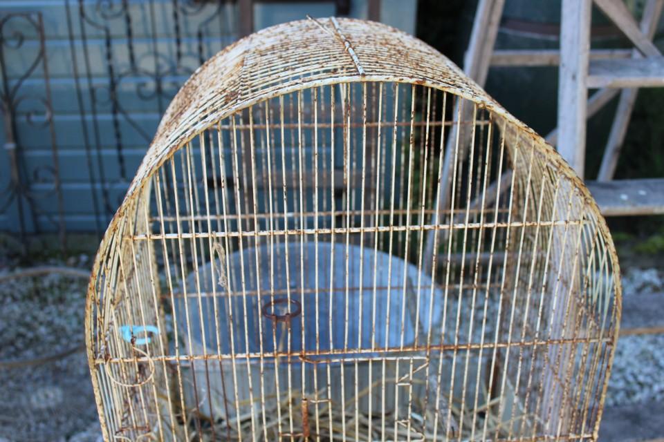 Brocante grote metalen vogelkooi
