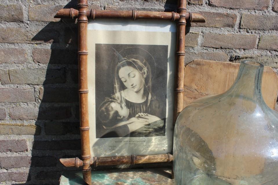 Oude zwart wit prent Maria in houten lijst