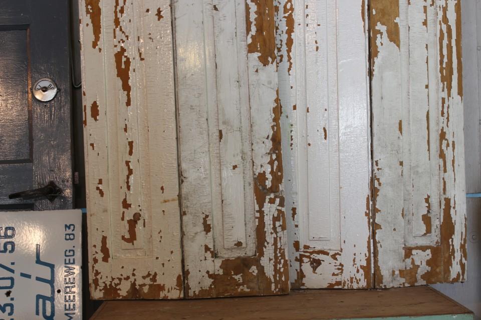 Brocante houten creme bruine luiken