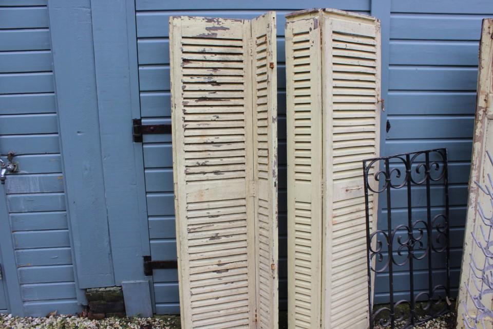 Brocante Franse houten louvre luiken