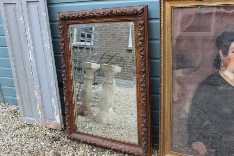Oude grote Franse houten spiegel