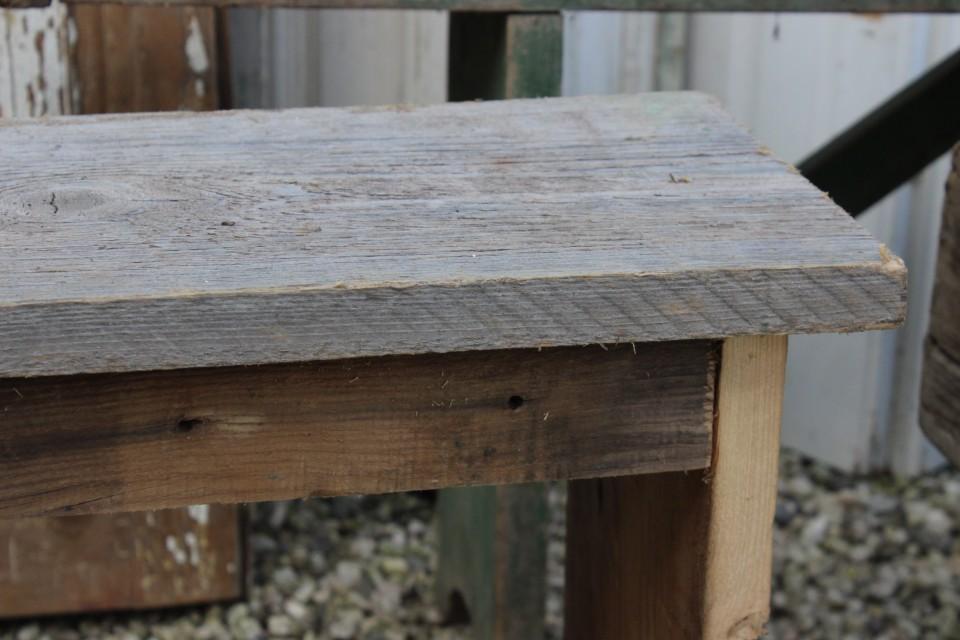 Brocante stoer houten bankje