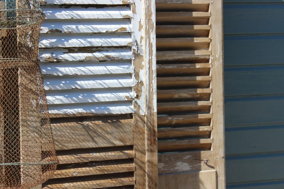 Brocante set Franse houten louvre luiken 192 cm hoog