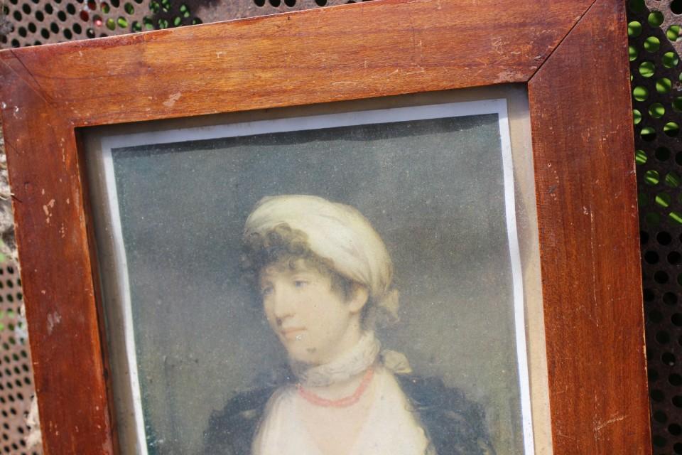 Oude Franse prent dame