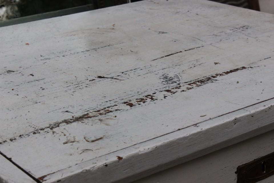 Brocante houten witte grote lessenaar