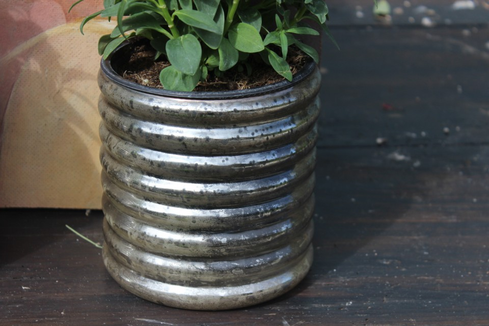 Brocante zilverglas potje