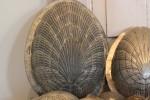 Oude metalen chocolade Paasmal schelp groot