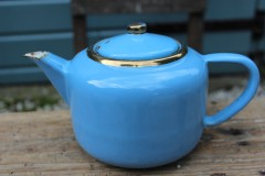 Brocante emaille blauwe theepot