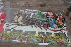 Oude grote poezieplaat Kerstman arreslee