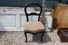Brocante houten zwarte stoel