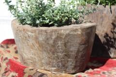 Brocante houten vijzel