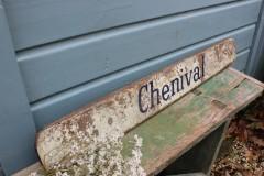 Oud Frans metalen bord Chenival