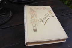 Antiek religieus gedenkboek met prenten