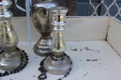 Oude kleine zilverglas kandelaar