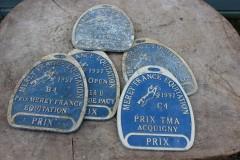 Oud blauw Frans metalen bordje prijs paard