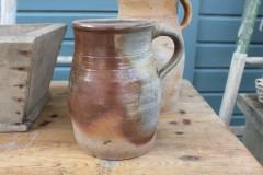 Oude Franse 2 kleurige aardewerk pot