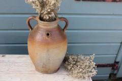 Oude Franse aardewerk pot met 3 handgrepen