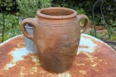 Oude aardewerk pot hoogte 22 cm