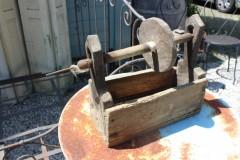 Brocante houten linnen spoel 50 cm L
