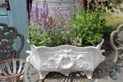 Brocante Franse grijze jardiniere